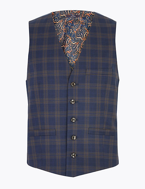Blue Checked Skinny Fit Waistcoat with Stretch