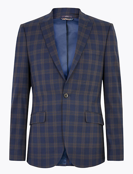 Blue Checked Skinny Fit Jacket with Stretch
