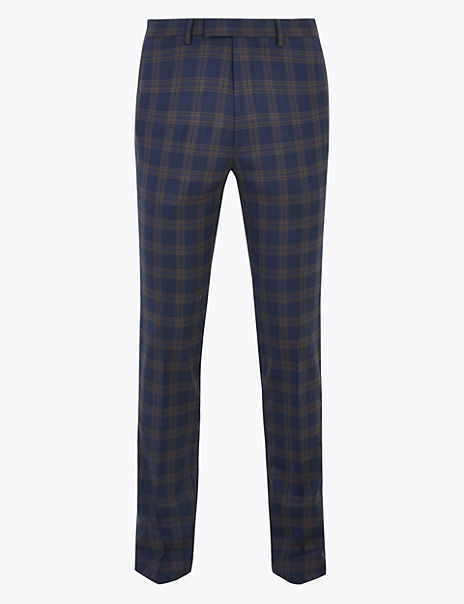 Blue Checked Skinny Fit Trousers with Stretch