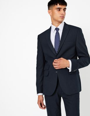 Navy Skinny Fit Striped Jacket