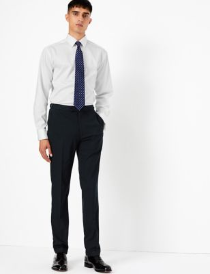 Navy Striped Skinny Fit Trousers  with Stretch