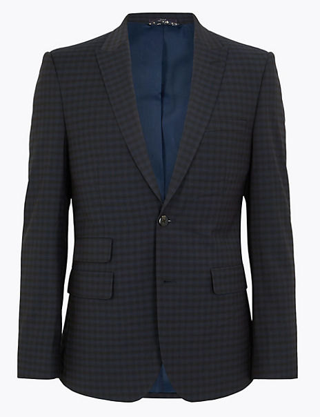 Checked Skinny Fit Jacket with Stretch