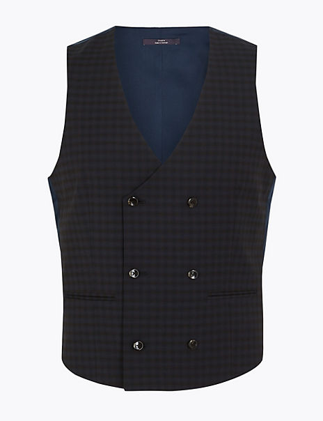 Checked Skinny Fit Waistcoat with Stretch