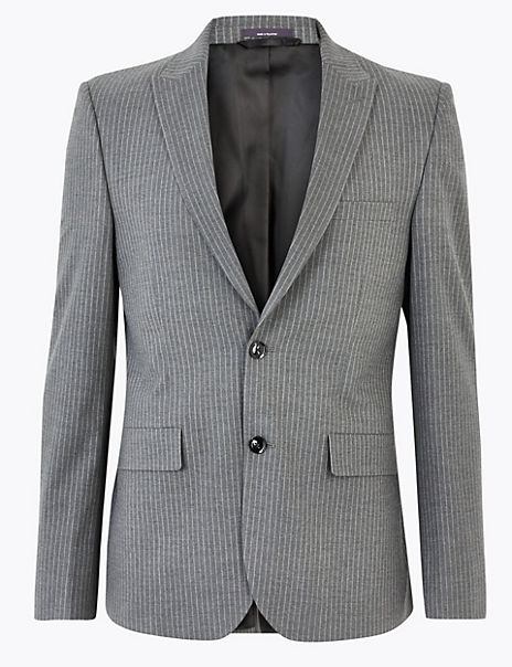 Grey Skinny Fit Striped Jacket