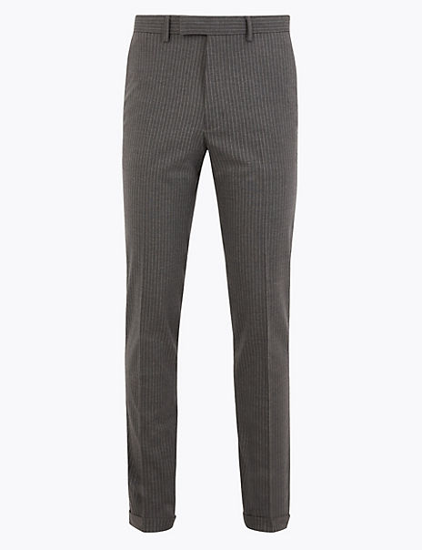 Grey Striped Skinny Fit Trousers