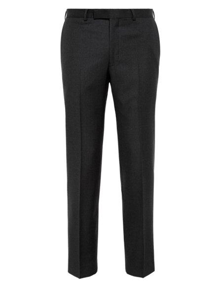 Pure New Wool Birdseye Flat Front Trousers