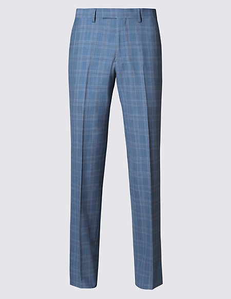 Pure Wool Tailored Fit Prince of Wales Check Trousers with Buttonsafe™