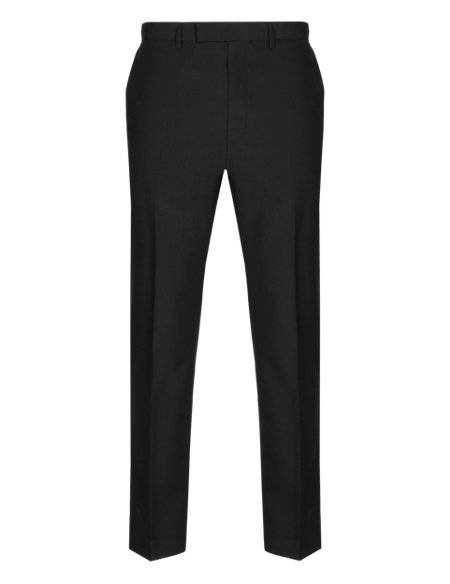 Black Tailored Fit Wool Blend Trousers