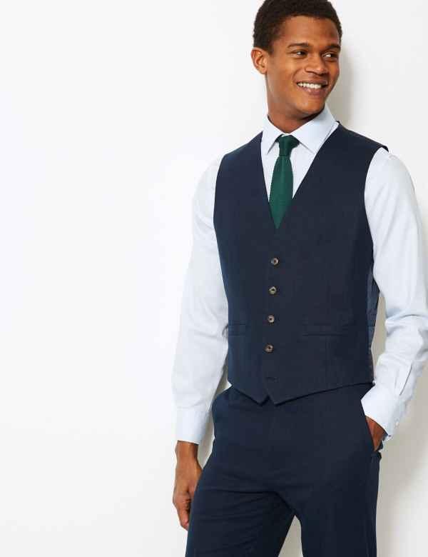 d89a17613f1 Textured Regular Fit Linen Waistcoat