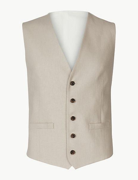 Textured Regular Fit Linen Waistcoat