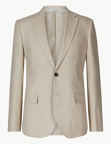 Textured Regular Fit Linen Jacket