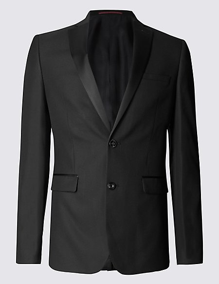 Black Textured Modern Slim Fit Jacket