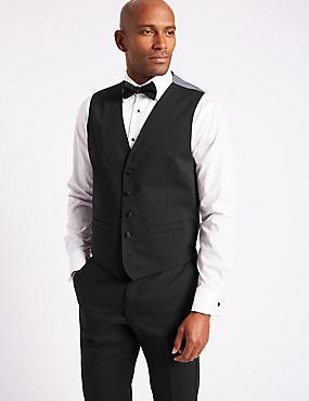 Black Regular Fit Dinner Waistcoat