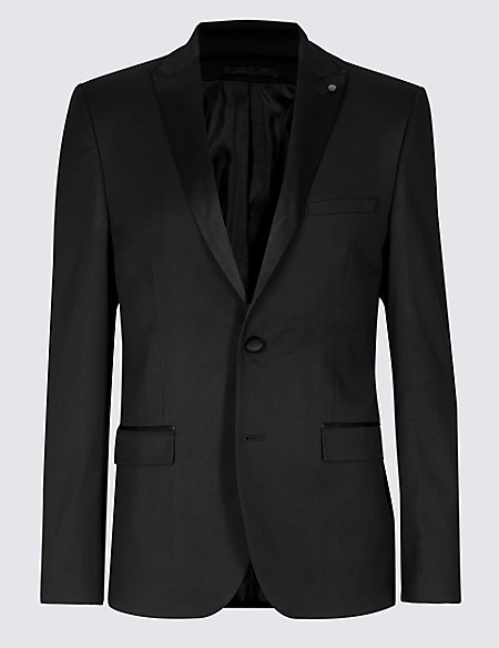 Black Textured Skinny Fit Jacket