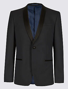 Navy Textured Slim Fit Jacket
