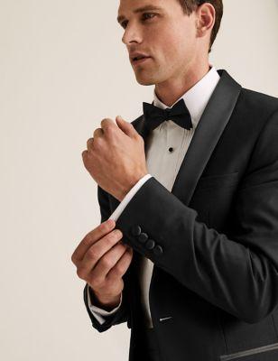 Big & Tall Black Textured Slim Fit Jacket