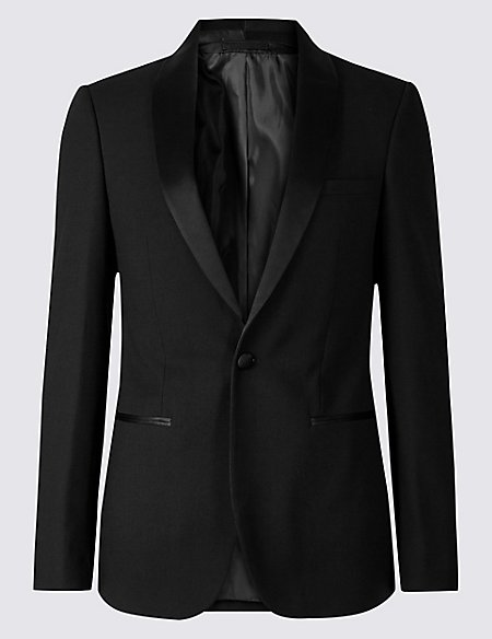 Big & Tall Black Textured Slim Fit Jacket