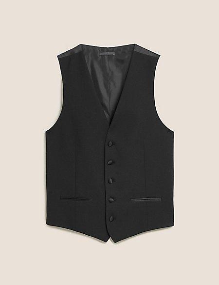 Black Textured Slim Fit Waistcoat