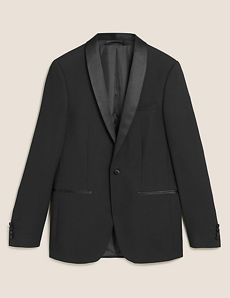 Black Textured Slim Fit Jacket