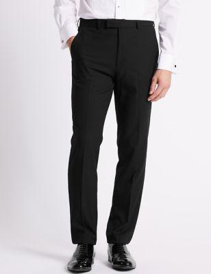 Big & Tall Black Textured Slim Fit Trousers