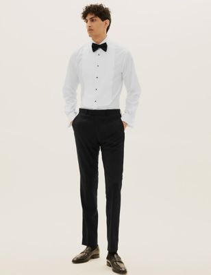 Black Textured Slim Fit Trousers