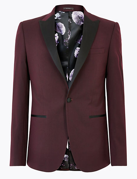 Burgundy Slim Fit Textured Jacket