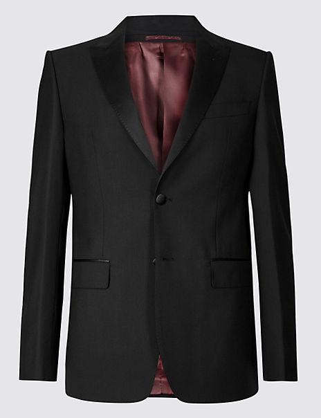 Black Regular Fit Wool Dinner Jacket