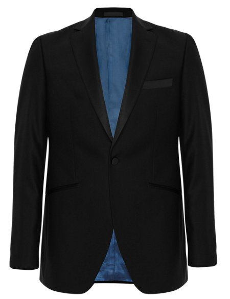 Black Tailored Fit Wool Rich Jacket