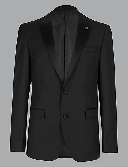 Black Tailored Fit Italian Wool Jacket