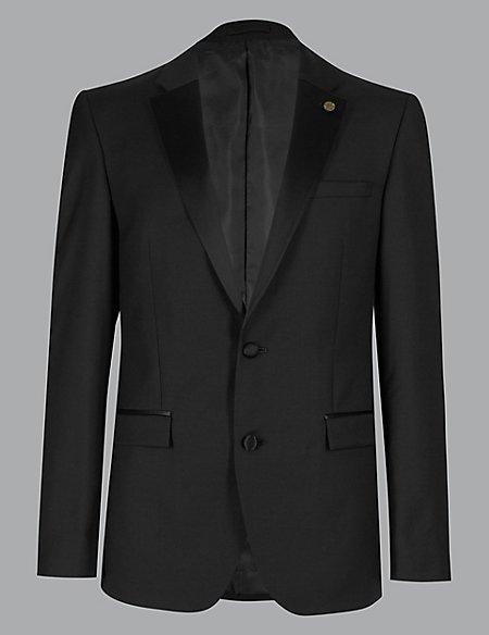 Big & Tall Black Tailored Fit Wool Jacket