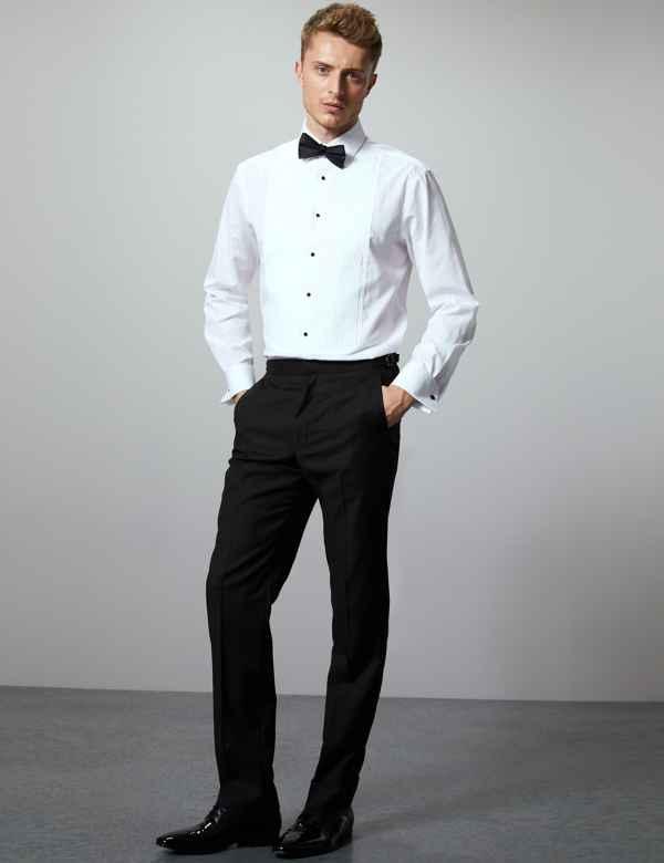 Black Tailored Fit Italian Wool Trousers