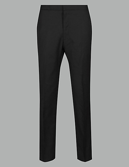 Black Tailored Fit Italian Wool Trousers