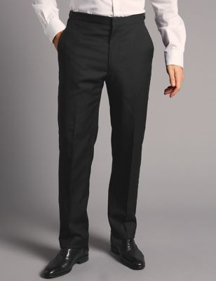 Big & Tall Black Tailored Fit Wool Trousers