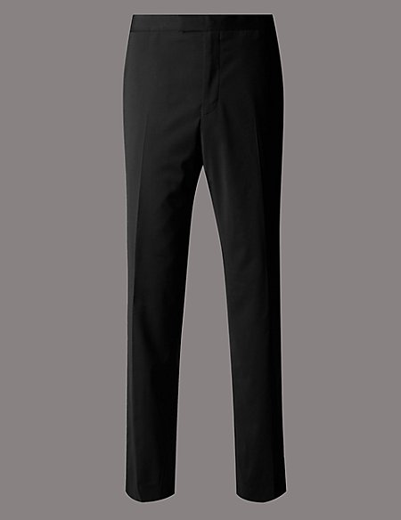Black Tailored Fit Wool Rich Trousers