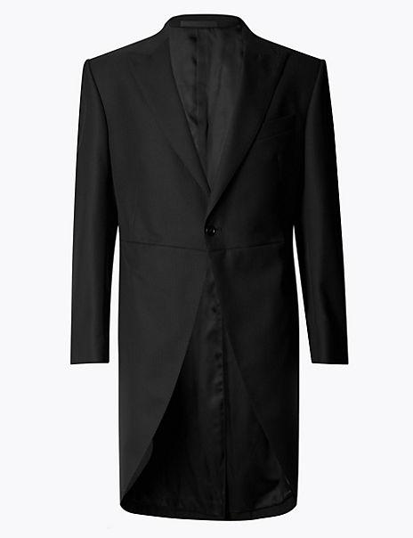 Black Regular Fit Wool Blend Jacket