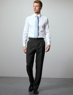 Charcoal Regular Fit Wool Blend Trousers