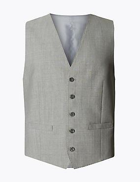 Grey Tailored Fit Wool Waistcoat