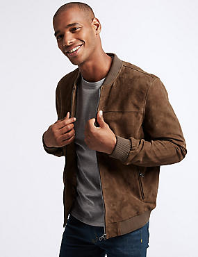 Suede Baseball Jacket