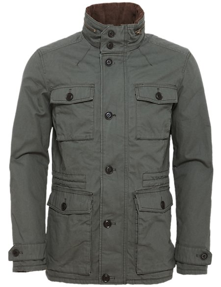 Pure Cotton Military Coat with Concealed Hood
