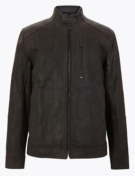 Double Collar Leather Biker Jacket