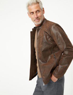 Mens M&S Collection Veste style motard en cuir - Tan