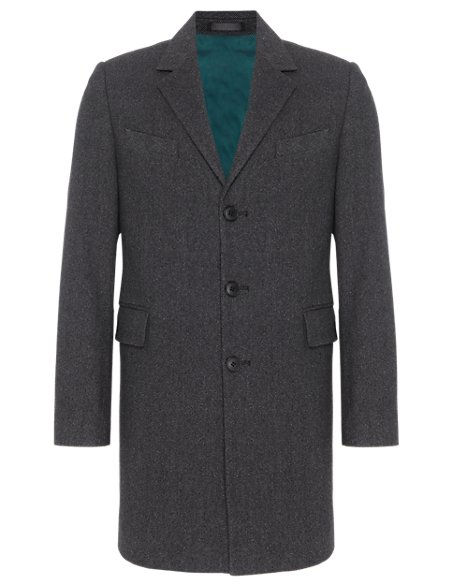3 Button Textured Coat