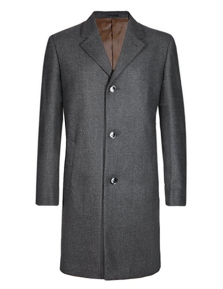 Prince of Wales Checked Coat with Wool