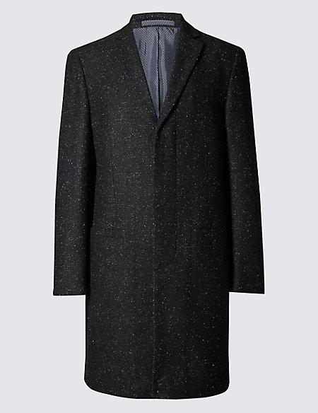 Fleck Single Breasted Revere Overcoat