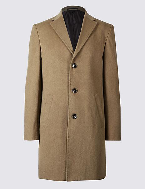 Wool Blend Revere Coat