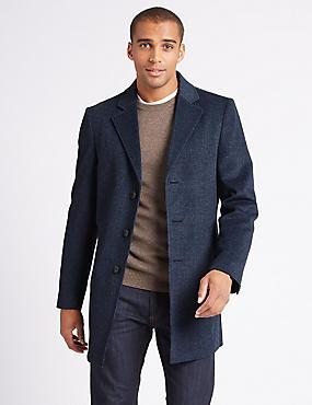 Wool Blend Revere Overcoat, BLUE MIX, catlanding