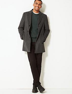 Wool Blend Revere Overcoat, GREY MIX, catlanding
