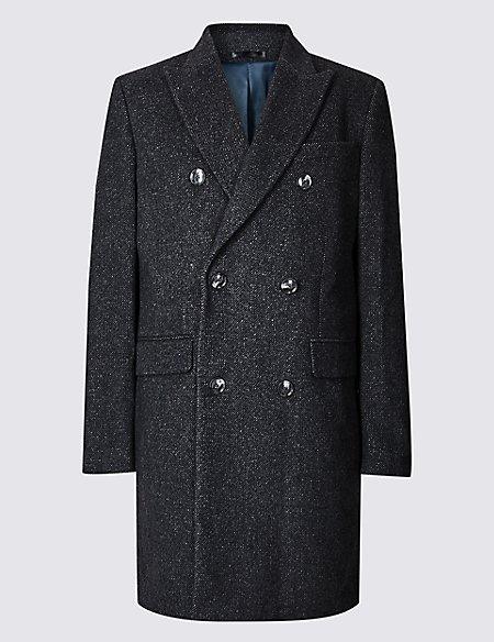 Wool Blend Twill Peak Collar Overcoat