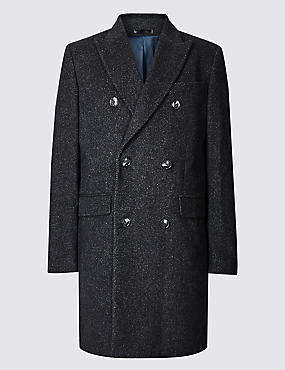 Wool Blend Twill Peak Collar Overcoat