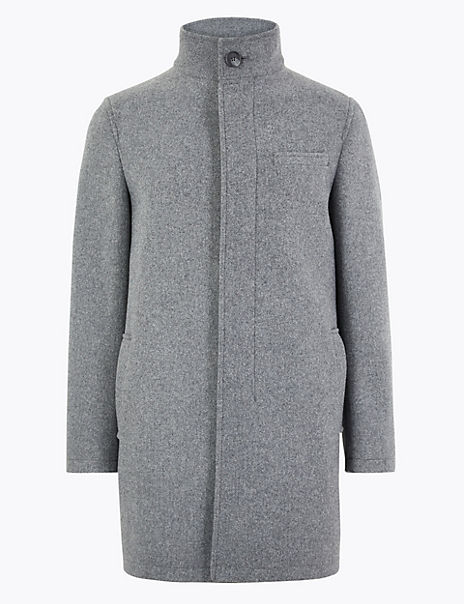 Tailored Fit Funnel Neck Overcoat
